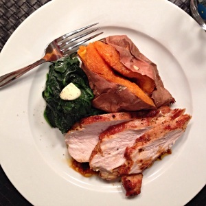 Pan Roasted Turkey Breast with sweet potato and steamed baby spinach