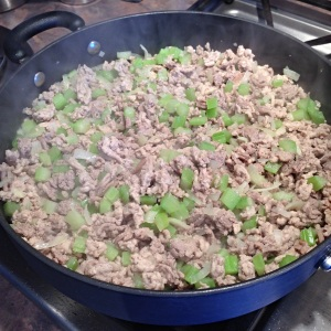 Browning the ground turkey and vegetables