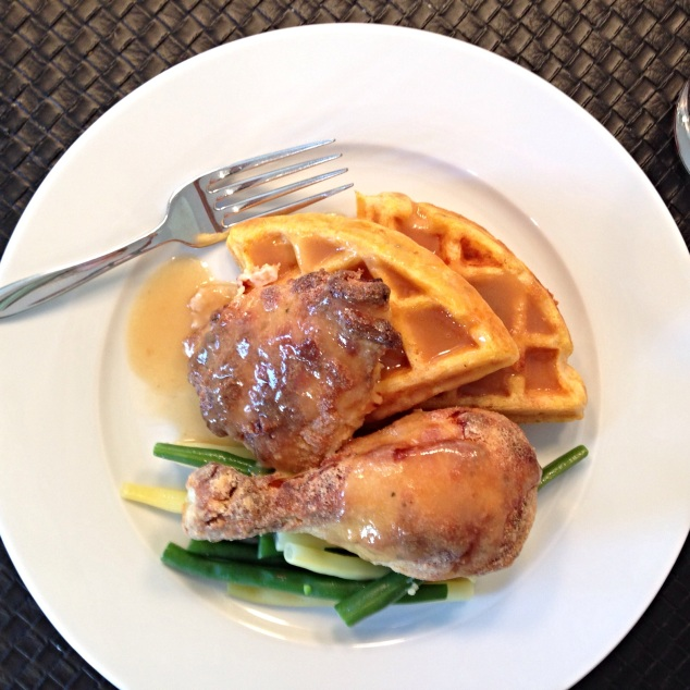 Baked Fried Chicken and Pumpkin Herbed Cheddar Waffles with Maple Gravy