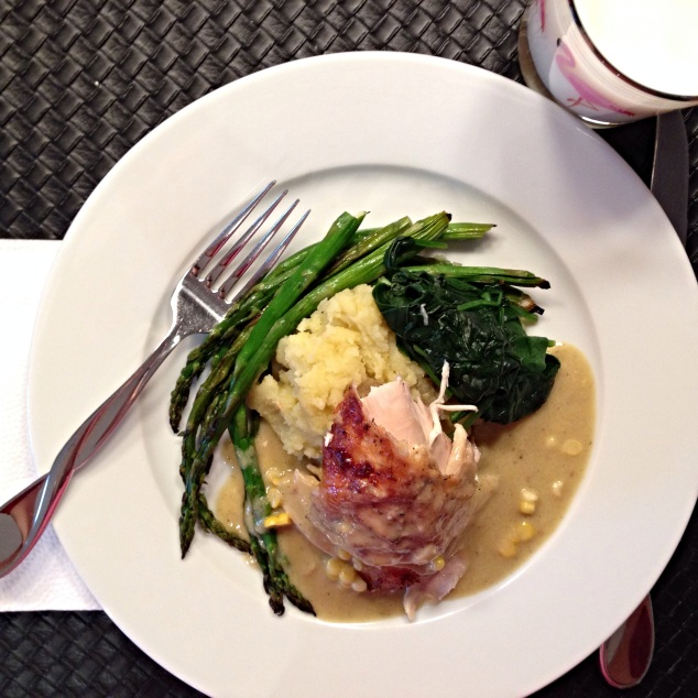 Chicken in Milk served with mashed potatoes and sautéed spinach