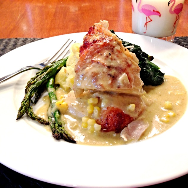 Chicken in Milk with sauteed Spinach, grilled Asparagus, smashed potatoes in a Lemony Corn Sauce