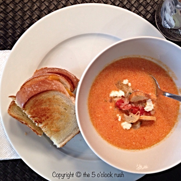 Low-Fat Homemade Cream of Tomato Soup with Crab and Goat Cheese