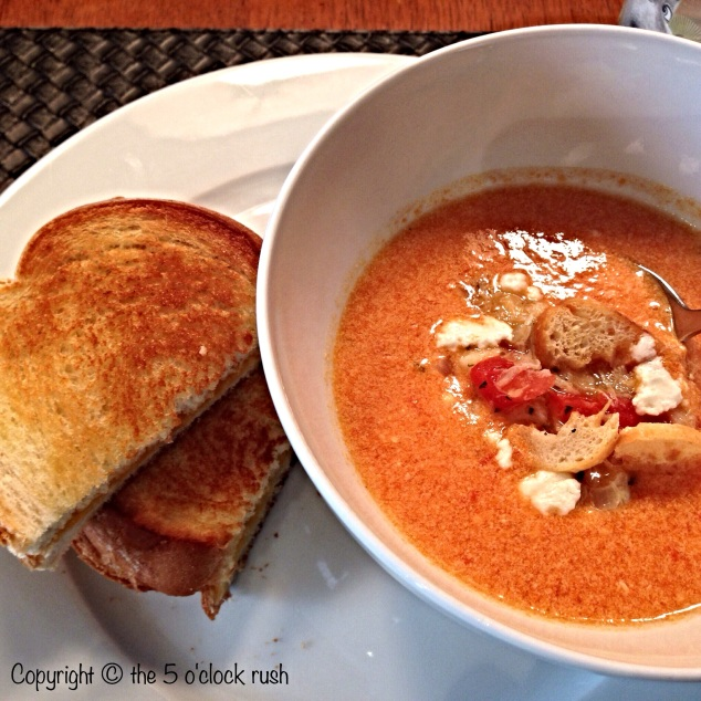 Homemade Tomato Soup with Crab and Goat Cheese plus a side of Grilled Cheese ;)