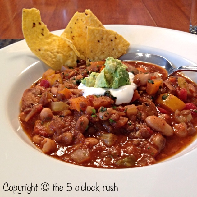 Homemade Vegetarian Chili with toppings