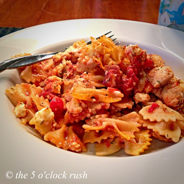 Baked Chicken, Bacon and Feta Farfalle