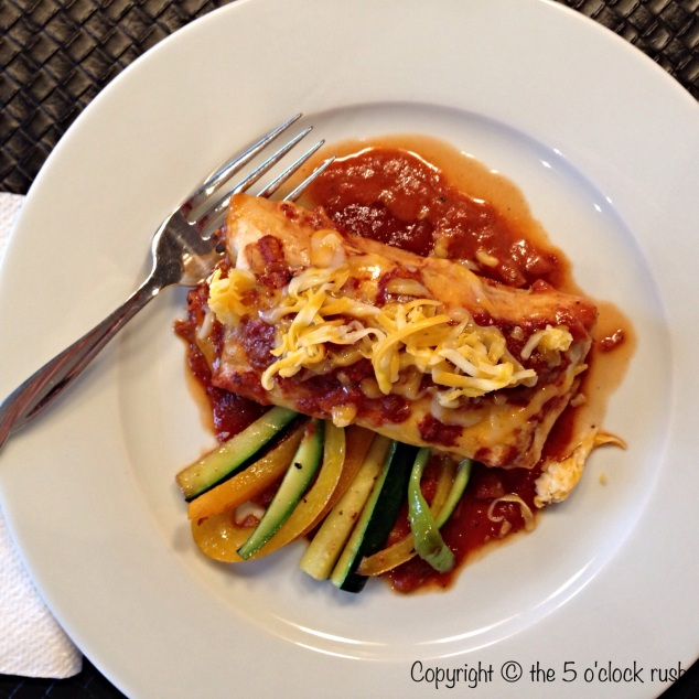 Smoky Chicken Enchiladas with sauteed veggies