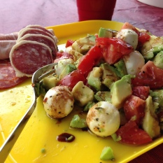 iPhone of Caprese salad and salami lunch