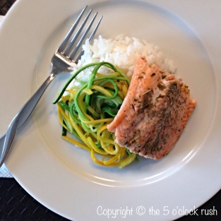Oven Roasted Rainbow Trout with Zucchini Spaghetti with Sticky Rice