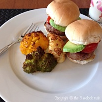 BBQ Sliders with Roasted Tri Colour Cauliflower