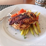 Cast Iron Pan-Fried Chicken with yellow beans and glazed carrots