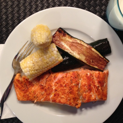 iPhoto BBQ Salmon with Zucchini and Kent County Corn