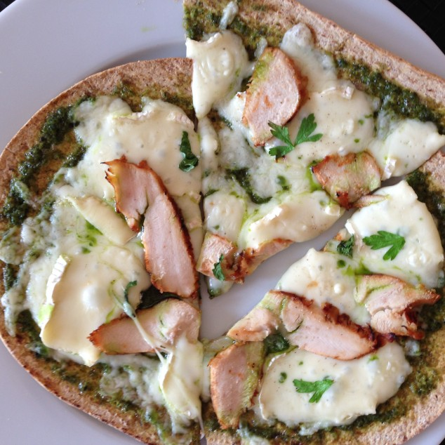 Whole Wheat Flatbread Pizza with BBQ Chicken, Brie and Pesto Sauce