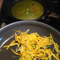 Saute Yellow Zucchini with basil chiffonade In the background pan juices with Homemade Pesto