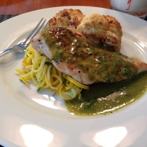 iPhoto Pan-fried Pesto Chicken Breast with Zucchini Pasta and Roasted Cauliflower