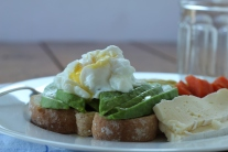 DSLR Lunch of Poached Egg with Brie and Leftover Veggies
