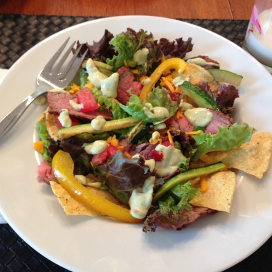 Flank Steak Salad with Guacamole Dressing