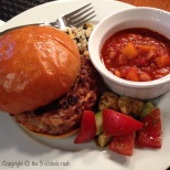 iPhone Hamburger on Ace Bakery Bun, Coucous and Homemade Slow Cooker Navy Beans with Peaches