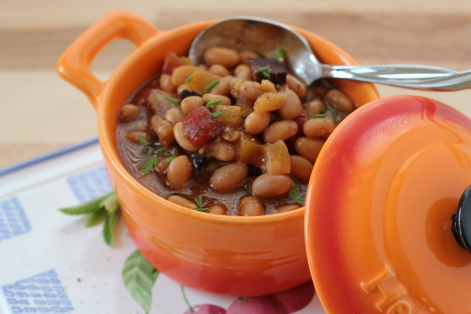 DSLR Slow Cooker Beans with peaches and pineapple