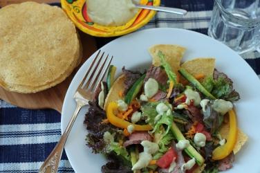 DSLR Flank Steak Salad with Guacamole Dressing