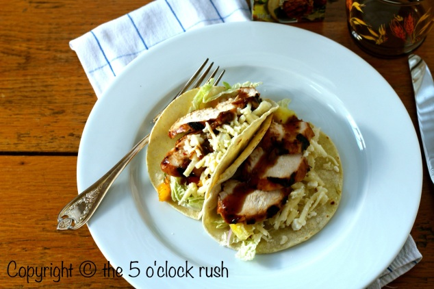 Assembled Pulo Cuisine Chicken Tacos with Grilled Pineapple