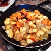 Sweet and Yukon Gold Potato Hash