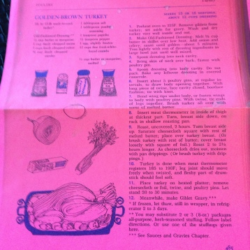 My pink printout of the Golden-Brown Turkey Recipe
