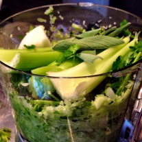 Celery, Onions and Parsley in Food Processor