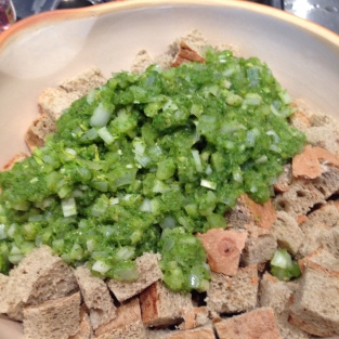 Celery/Onion Mixture Added to Dried Bread Cubes