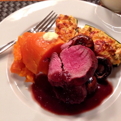 Veal Tenderloin with Stuffed Zucchini Boats and a Red Grapes, Wine and Horseradish Beef Sauce