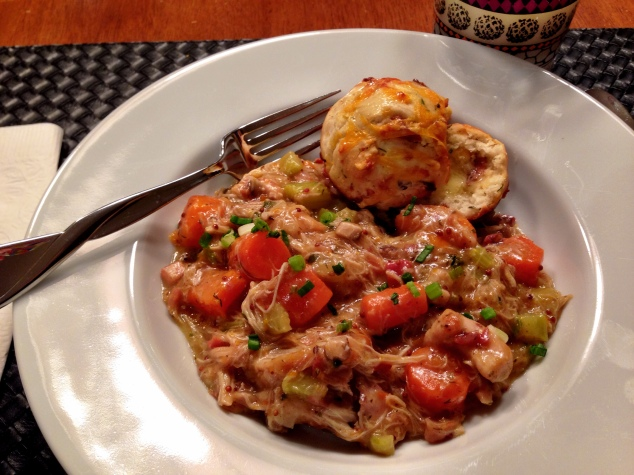 Chicken Stew with Bacon, Cheddar and Dill Biscuits