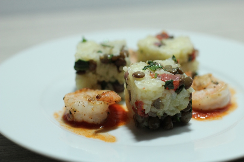 Constructed Rice Cube of Saffron Sticky Rice with lentils and Chinese 5 Spiced Shrimp