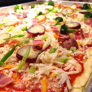 """Loaded """"Baked"""" Potato Pizza"""