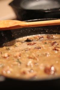 Simmering Meatballs in Gravy