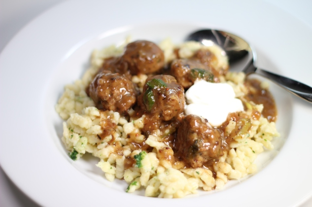 Swedish Turkey Meatballs with Spaetzle