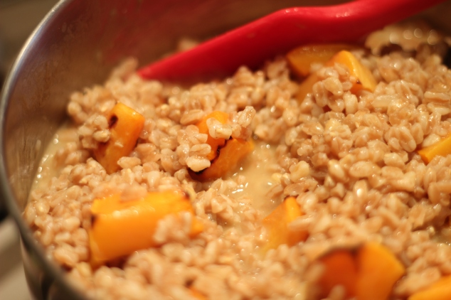 Adding the Butternut Squash to Spelt Risotto