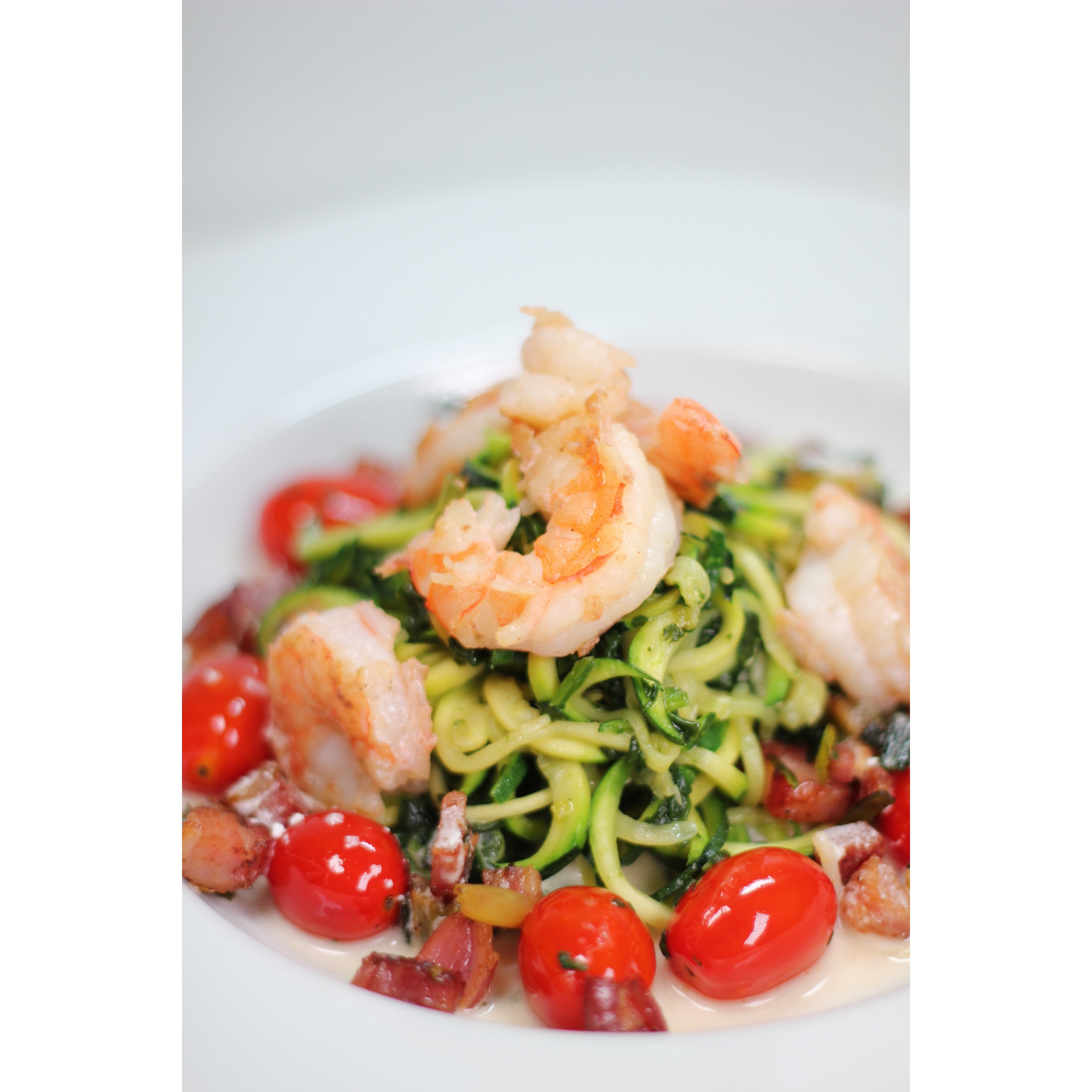 Pasta' with Shrimp, Pancetta, Cherry Tomato served on a Goat Cheese ...