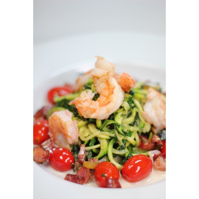 "Zucchini ""Pasta"" with Shrimp, Pancetta, Cherry Tomato served on a Goat Cheese Lemon Shrimp Broth"
