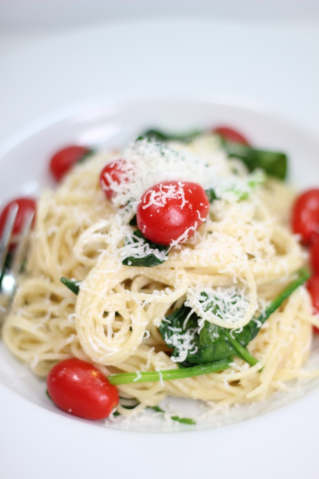 Spaghettini with Spinach and Grape Tomatoes in a Egg Yolk and Parmesan Sauce