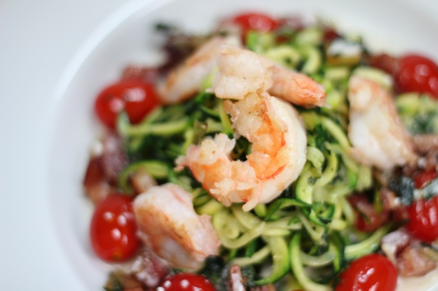Zucchini 'Pasta' with Shrimp, Pancetta, Cherry Tomato served on a Goat Cheese Lemon Shrimp Broth