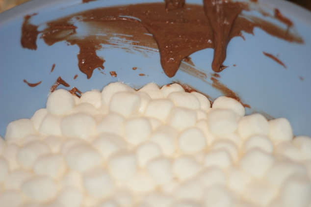 Melted Marshmallows with Reese® Peanut Butter and Chocolate Spread