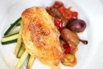Roasted Chicken Paprikash with Mini Potatoes, Red Peppers, Zucchini and Onions