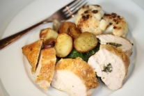 Stuffed Chicken Breasts with Mini Roasted Potatoes and Shallots