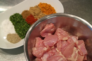 Chicken Thighs Salt, Pepper, Parsley Flakes, Cumin, Paprika, Tea Marsala, Ground Coriander and Tumeric
